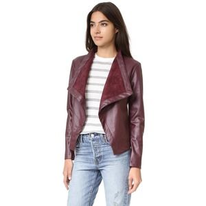BB Dakota Maroon Peppin Vegan Leather Jacket Large